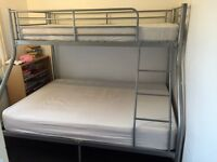 Metal double bunk bed with mattresses