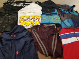 8 Hoodies/Jackets Men's XL/TG: Adidas, Hurley, Project Raw, Nike
