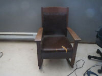 Antique Mission Style Oak Rocking Chair