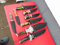 COLLECTION  OF NEW  KNIVES and  SNOW SHOES