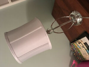 Crystal lamp, grey silk shade