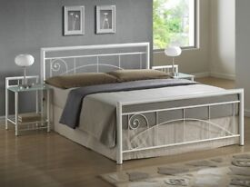 BRAND NEW - Bentley Solid Single / Double Metal Bed Frame in Black & White with Mattress of Choice
