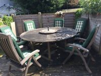 Teak Garden Table and Chairs x6