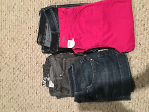 Size 26 jeans, Capri and jean skirt