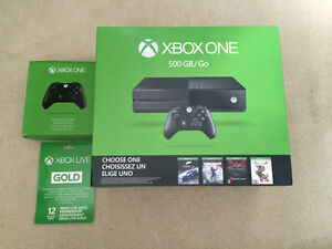 Xbox one with 2 controllers and 12 month xbox live