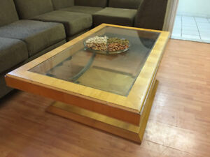 Real wood with glass cover table with side table set