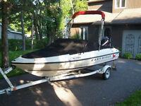 bateau open deck 17 pieds 60hp 2008 avec 150 h certifié