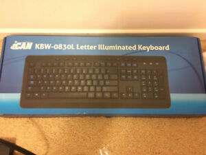 iCAN Computer Keyboard Letter Illuminated Backlit Blue New