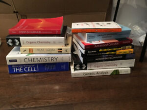 Biology, math, and physics textbooks for sale