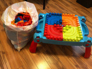 Mega Bloks Build and Learn Table and lots of blocks