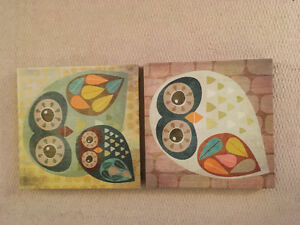 Owl canvases - nursery or child's room Kitchener / Waterloo Kitchener Area image 1