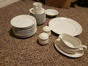 White stoneware dishes