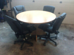 48 inch Round Board Room Table with 4 Office Chairs