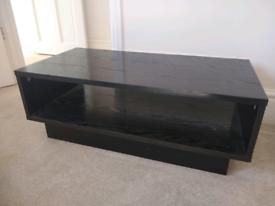 Black wood veneer TV stand