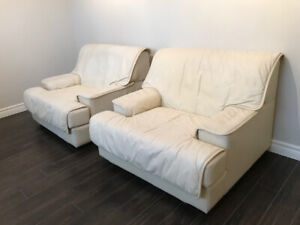 Cream Leather Love Seat + 2 Chairs