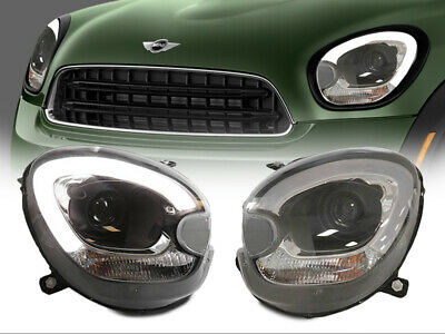 LED DRL Half Ring Projector Black Headlights 11-16 R60 Mini Cooper Countryman