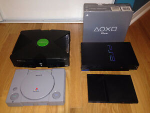 Lot of  XBOX, PS1, PS2 consoles