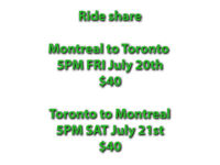 Toronto to Montreal 5:00PM SAT July 21st