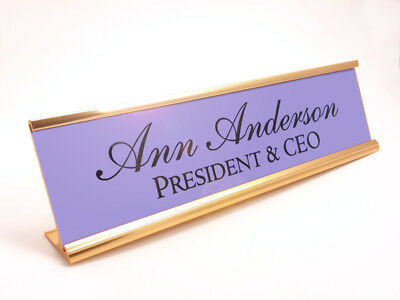Custom Desk Name Plate Gloss Purple Insert With Gold Color Aluminum Holder 2x8