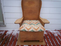 Vintage Wooden Wing Back Chair, J Crawshaw Barenet.