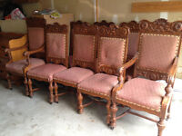 Antique formal dining room chairs - 8