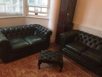 Green leather Chesterfield sofa suite x2 two seaters and footstool PERFECT