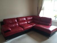 Red & Black Left Hand Facing Corner Couch