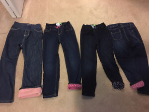 4 pairs girls size 5 old navy lined jeans excellent condition
