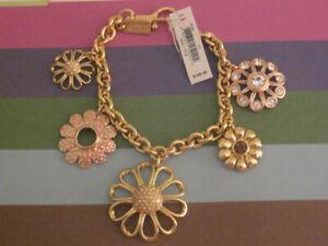 NEW - Coach Multi Flower Charm Bracelet, Gold Plated