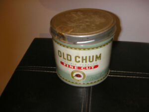 Vintage Old Chum Virginia Tobacco Fine Cut Antique Tin Canada'sT