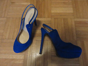 Royal blue high heel shoes