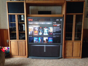 """53"""" Sony Rear Projection TV + Entire Wall Unit"""