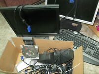 2 monitors--speakers--key board--mouse and a box full of cords