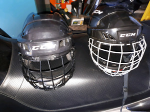 2 hockey helmets