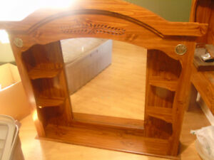 Solid wood Head Board with shelves and Mirror