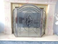 Beleveled lead glass fireplace screen