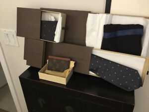 Men's ties, scarf and business card holder. All new Louis Vuitto
