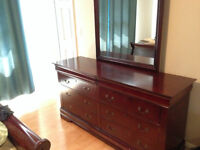 Solid Wood Sleigh Bed and 6+ Drawer Dresser & Nightstand
