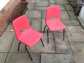 Childs plastic and metal chairs