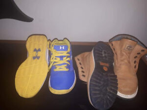 Kids under Armour sneakers and Timberland boots