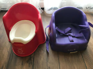 Red potty and  purple high chair
