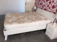 White King size bed frame and mattress only