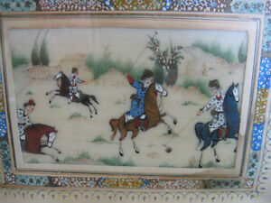 FINELY DETAILED ANTIQUE PERSIAN HAND-PAINTED OIL PAINTING on IVO