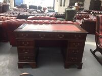 Fantastic vintage oxblood leather top Chesterfield desk can deliver