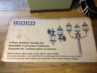 Brand new Catalina lampost with 2 wall lanterns