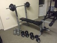 York weights bench and cast iron weights