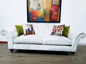 Laura Ashley Farnborough large sofa in dove grey velvet RRP £1840