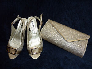 Golden shoes + Clutch(purse)