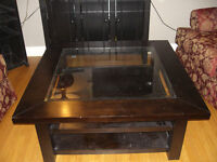 Solid wood 3 level coffee table
