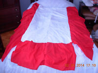Red Cotton crib skirt gently used,smoke free,mint condition